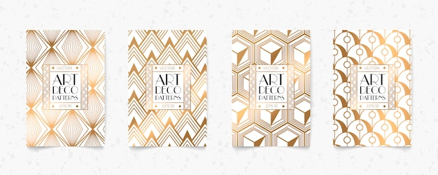 Fondo de textura de estilo de geometría art deco de patrón blanco y oro moderno