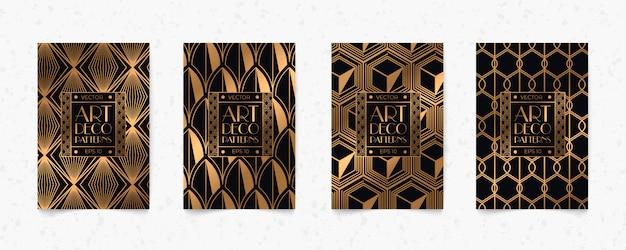 Fondo de textura de estilo de geometría art deco de patrón negro y oro moderno