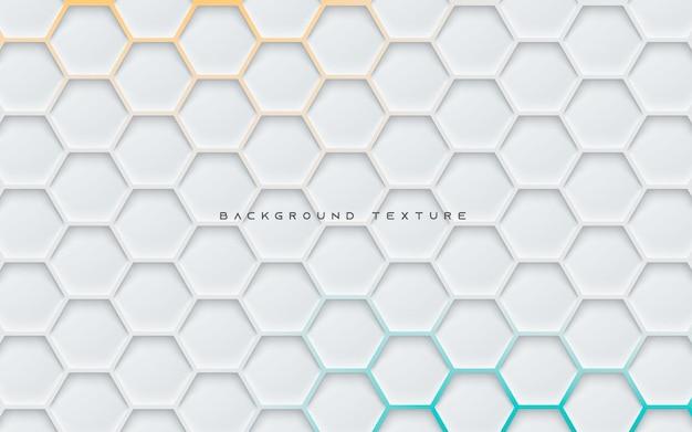 Fondo de textura hexagonal gris con luz naranja y azul