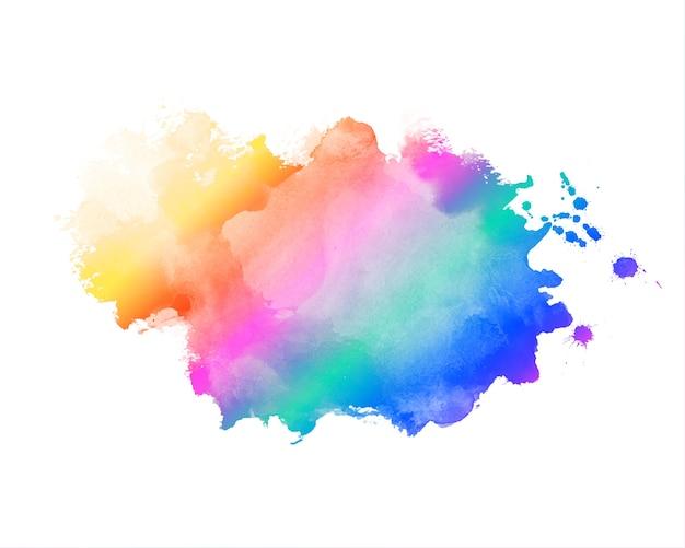 Fondo de textura de mancha de acuarela abstracta de color arco iris