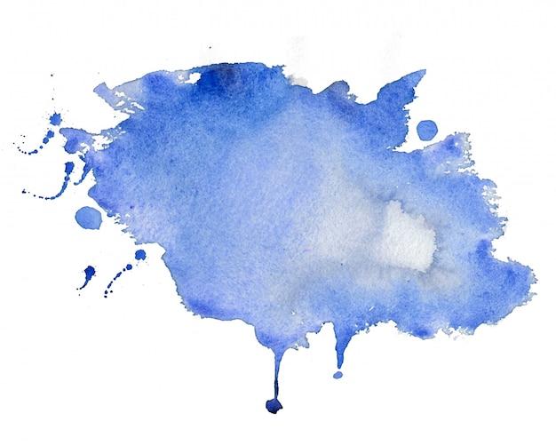 Fondo de textura de mancha de acuarela azul abstracto
