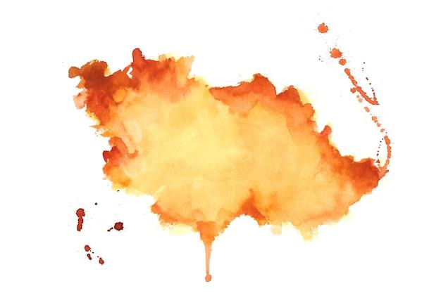 Fondo de textura de mancha de acuarela naranja dibujado a mano
