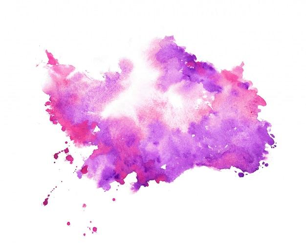 Fondo de textura de mancha de acuarela púrpura de pintor de mano