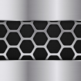 Fondo de textura de metal negro y plateado. patrón de panal. diseño