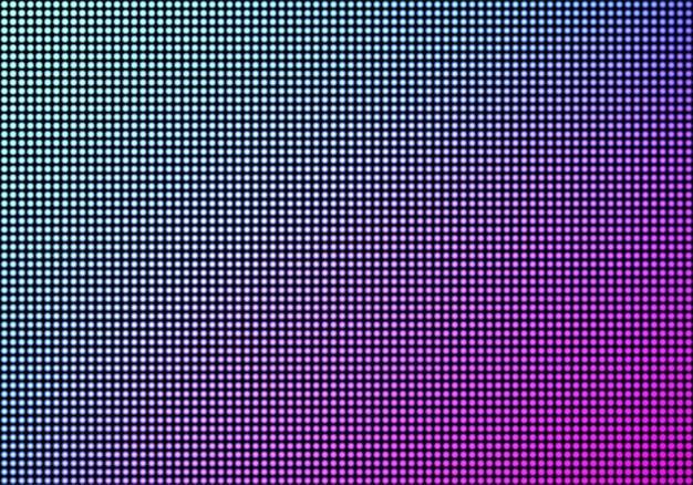 Fondo de textura de pantalla de pared de video led, panel de televisión de cuadrícula de puntos de diodo de luz de color azul y púrpura, pantalla lcd con patrón de píxeles, monitor digital de televisión, ilustración vectorial realista en 3d