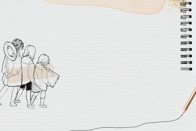 Fondo de textura de papel con estudiante dibujado a mano