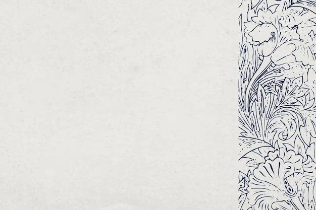 Fondo texturizado floral gris con borde