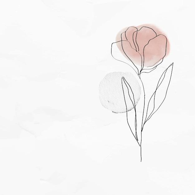 Fondo texturizado con ilustración de arte de línea femenina de vector de tulipán