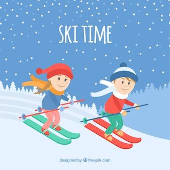Fondo de tiempo de esquí con niños