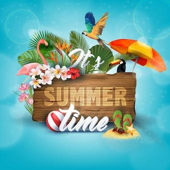 Fondo de tiempo de verano con elementos de verano