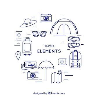 Fondo de tiempo para viajar con elementos
