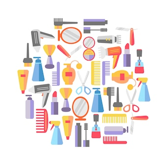 Fondo de tienda de belleza con maquillaje y peluquería.