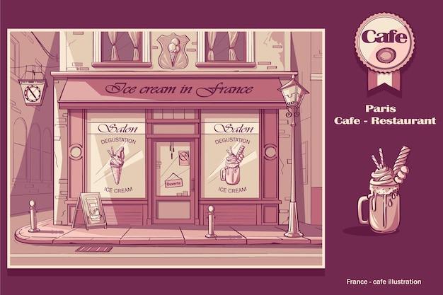 Fondo tienda de helados. imagen de la cafetería frozen yogurt en colores rosas.