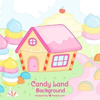 Fondo de tierra de dulces colorida en estilo hecho a mano