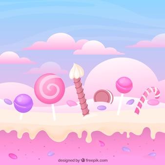 Fondo de tierra de dulces colorida