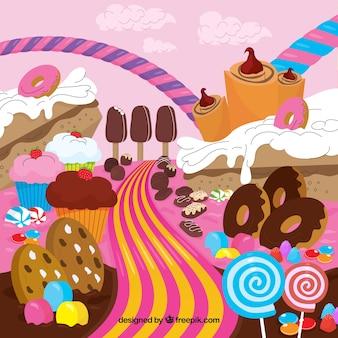 Fondo de tierra de dulces deliciosas en estilo plano