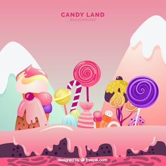 Fondo de tierra de dulces sabrosos en estilo plano
