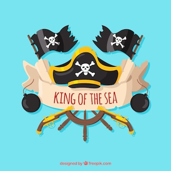 Fondo de timón y sombrero pirata con banderas