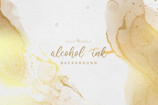 Fondo de tinta de oro y blanco alcohol