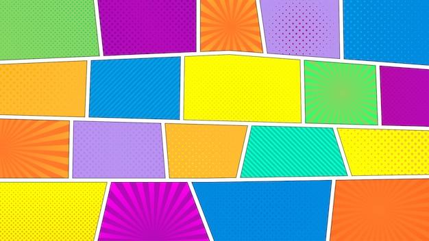 Fondo de tira cómica. diferentes paneles de colores. rayos, lineas, puntos.