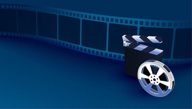 Fondo de tira de película realista con tablero de chapaleta
