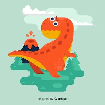 Fondo de tiranosaurio rex en diseño plano