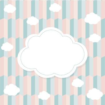 Fondo en tonos rosados y azules con un marco de nubes
