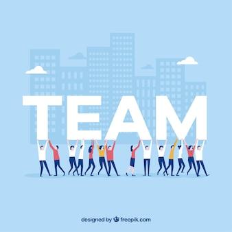 Fondo de trabajo en equipo en diseño plano