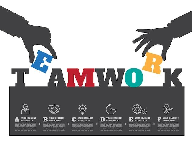 Fondo de trabajo en equipo. ilustración de infografía empresarial.