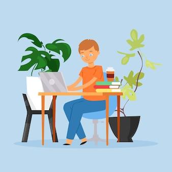 Fondo de trabajo del hombre, lugar ilustración. guy personaje sentado en el escritorio, completar la tarea en la computadora portátil.