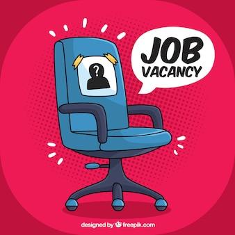 Fondo de trabajo vacante con silla