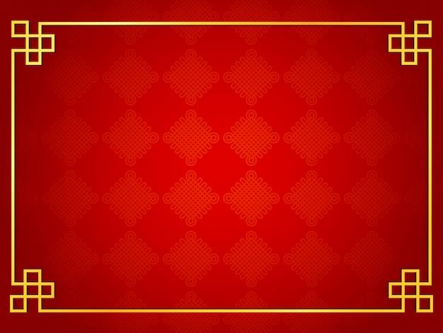 Fondo tradicional chino con marco dorado.