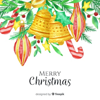 Fondo tradicional de navidad en acuarela