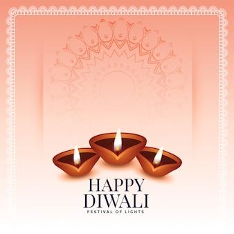 Fondo tradicional feliz diwali con tres diya