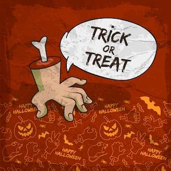 Fondo tradicional de halloween con brazo de zombie de nube de discurso e iconos de línea espeluznante