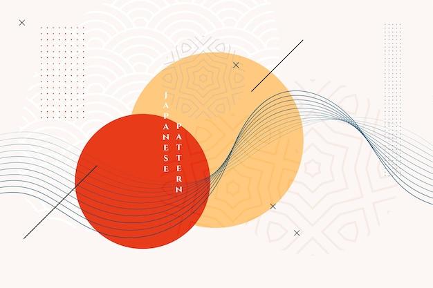 Fondo tradicional japonés con líneas onduladas vector gratuito