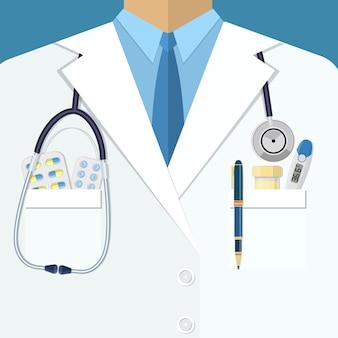 Fondo de traje blanco de médicos