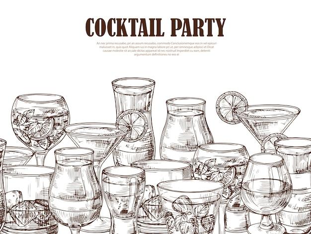 Fondo transparente de bebidas alcohólicas dibujadas a mano