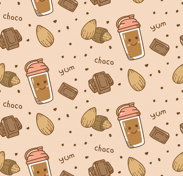 Fondo transparente de chocolate en estilo kawaii