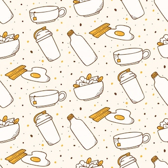 Fondo transparente de comida de desayuno en estilo kawaii
