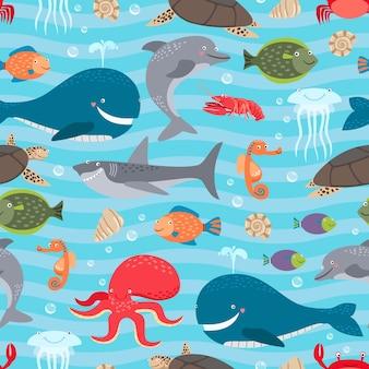 Fondo transparente de criaturas marinas.