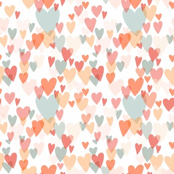 Fondo transparente con diferentes corazones, colores pastel