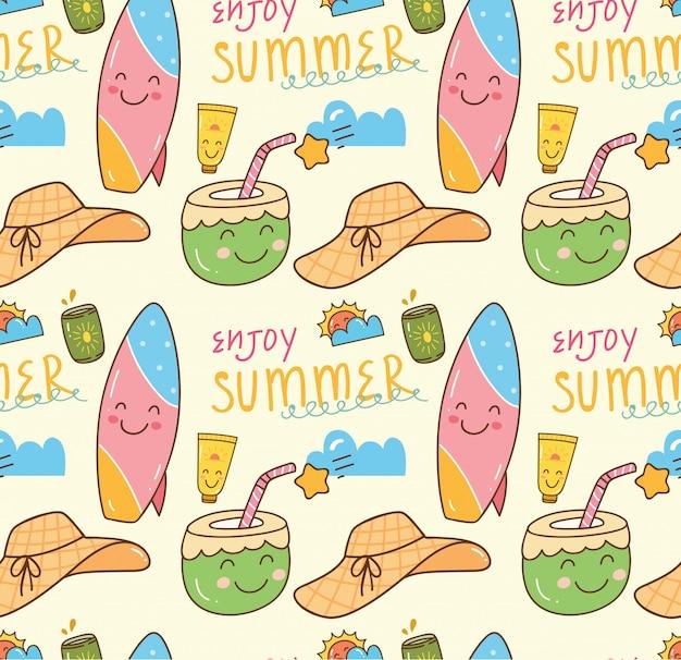 Fondo transparente doodle de verano con temas