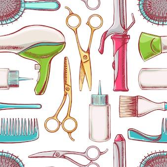 Fondo transparente con equipo de peluquería. ilustración dibujada a mano