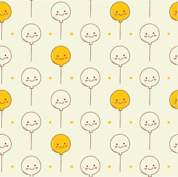 Fondo transparente de globos en estilo kawaii