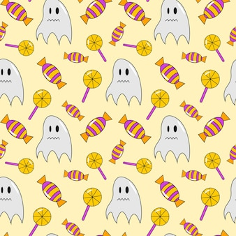 Fondo transparente de halloween con fantasmas y candie