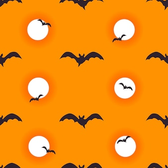 Fondo transparente de halloween con murciélagos voladores y luna sangrienta ilustración de dibujos animados de vector