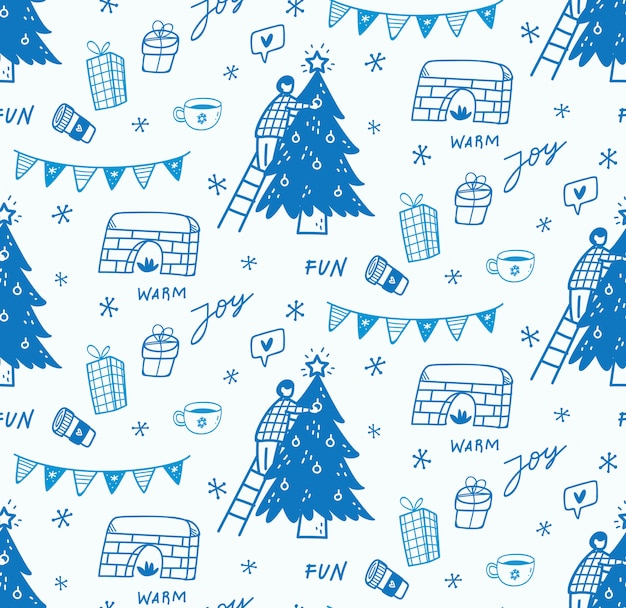 Fondo transparente de navidad en estilo doodle