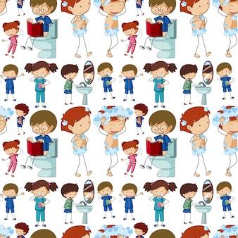 Fondo transparente con niños haciendo diferentes rutinas