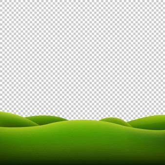Fondo transparente de paisaje verde aislado